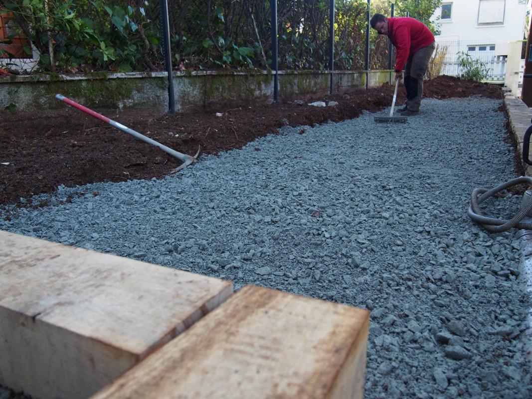 aménagement d'une allée en pavés et d'une terrasse - terraflore